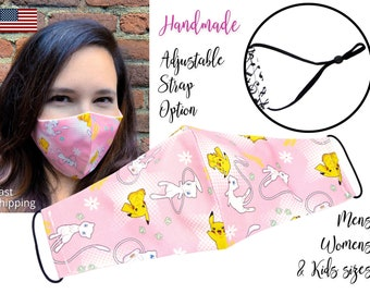 Mew Pokemon Cotton Fabric Face Mask with adjustable elastic tie, for Adult Men Women and children, handmade with carbon filter pocket