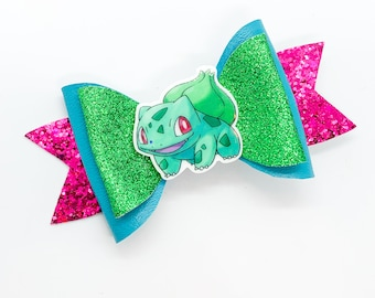 Bulbasaur Pokemon Nintendo Trading Card Game Inspired Green Chunky Glitter Leather Hair Bow