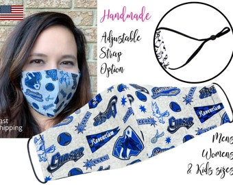 Harry Potter Ravenclaw House Fitted Fabric Face Mask with adjustable elastic tie, for Adult Men Women & children, handmade filter pocket
