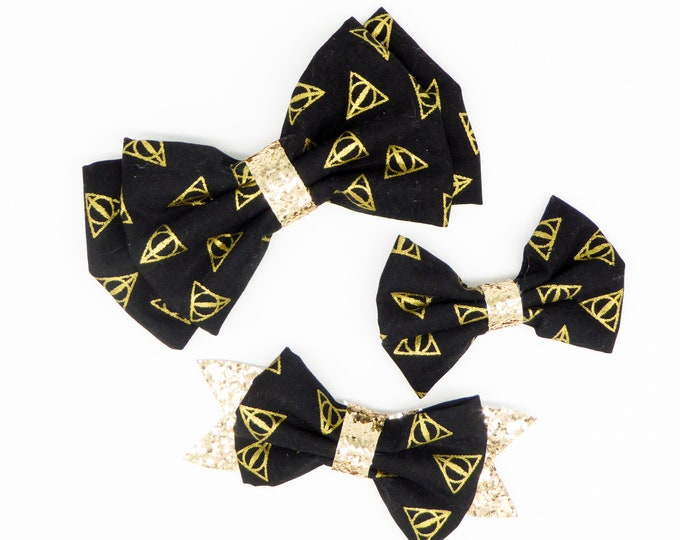 Deathly Hallows Harry Potter Inspired Black and Gold Cotton Fabric Hair Bow Set