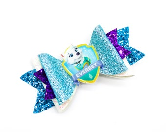 Everest Paw Patrol Inspired Teal and Purple Chunky Glitter Hair Bow