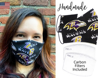 Baltimore Ravens Cotton Fabric Football Face Mask with elastic tie, for Adult Men Women and children, handmade with carbon filter pocket