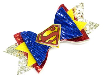 Superman Justice League DC Comics Superhero Inspired Blue Chunky Glitter Hair Bow