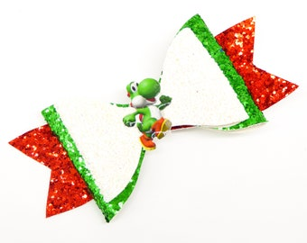 Yoshi Super Mario Kart Nintendo Inspired Gaming Glitter Hair Bow