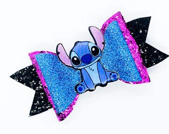 Stitch Disney Inspired Lilo and Stitch Movie Blue Chunky Glitter and Tulle Hair Bow