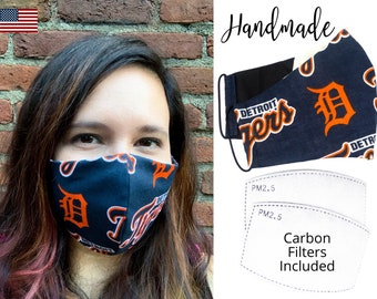 Detroit Tigers Baseball Cotton Fabric Face Mask with adjustable elastic tie, for Adult Men Women and children, handmade with filter pocket