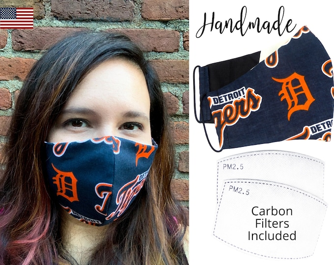 Detroit Tigers Cotton Fabric Face Mask with elastic tie, for Adult Men Women and children, handmade and washable, carbon filter pocket
