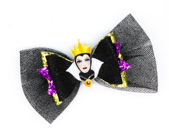 Evil Queen Snow White Inspired Black Chunky Glitter and Tulle Hair Bow