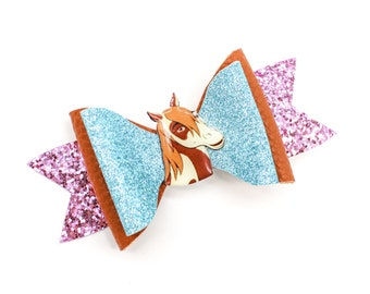 Spirit Riding Free Boomerang Horse Dreamworks Inspired Blue Glitter Leather Hair Bow