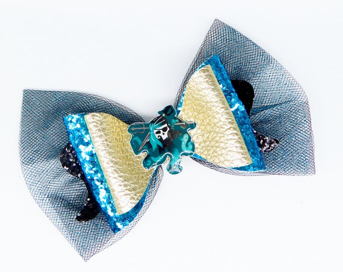 Uma Disney Inspired Descendants 3 Chunky Glitter and Tulle Hair Bow