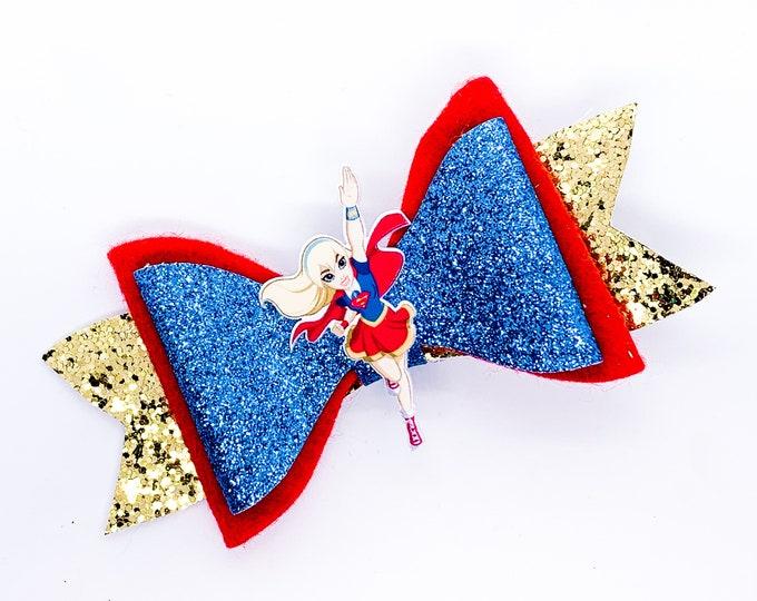 Supergirl DC Super Hero Girls Inspired Chunky Glitter Hair Bow Superhero