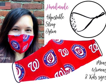 Washington Nationals Baseball Cotton Fabric Face Mask adjustable elastic tie, for Adult Men Women & children, handmade with filter pocket