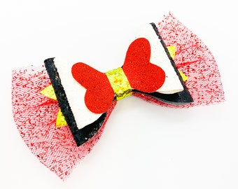 Queen of Hearts Inspired by Alice in Wonderland  Glitter Hair Bow