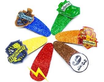 Harry Potter Glitter Hair Bow Snap Clip Set