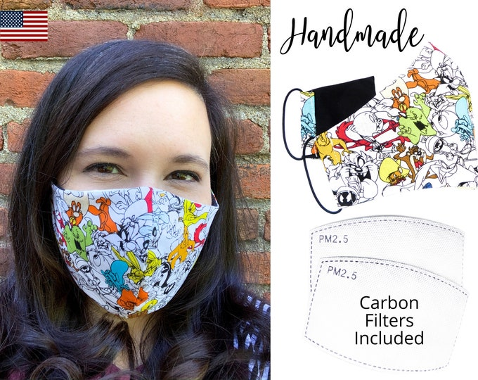 Looney Tunes Cotton Fabric Face Mask with adjustable elastic tie, for Adult Women & children, handmade and washable carbon filter pocket