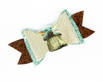 Baby Yoda The Child Star Wars Inspired Green Fine Glitter Hair Bow