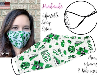 Harry Potter Slytherin House Fitted Fabric Face Mask with adjustable elastic tie, for Adult Men Women & children, handmade filter pocket