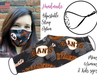 San Francisco Giants Baseball Fitted Fabric Face Mask & elastic tie, for Adult Men Women and children, handmade with carbon filter pocket