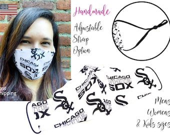 Chicago White Sox Baseball Fitted Fabric Face Mask & elastic tie, for Adult Men Women and children, handmade with carbon filter pocket