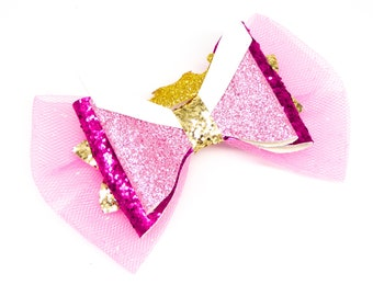 Aurora Sleeping Beauty Disney Inspired Pink Princess Pink Chunky Glitter and Tulle Hair Bow