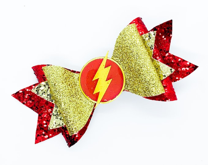 The Flash DC Comics Justice League Inspired Gold and Red Chunky Glitter Hair Bow