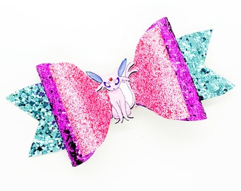 Espeon Eevee Eevolution Pokemon Trading Card Game Inspired Pink Chunky Glitter Leather Hair Bow