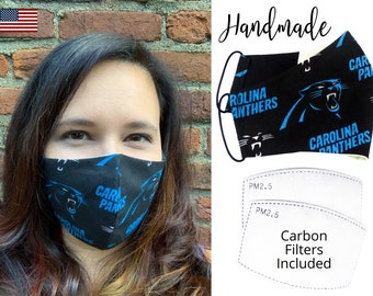 North Carolina Panthers Football Cotton Fabric Face Mask with elastic tie, for Adult Men Women and children, handmade & carbon filter pocket