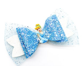 Cinderella Inspired Princess Blue Chunky Glitter and Tulle Hair Bow
