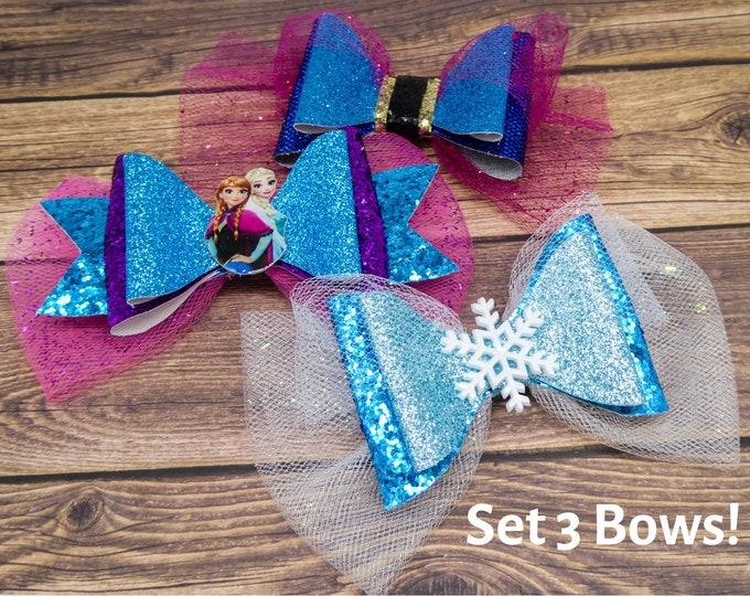 Frozen Bow Set Elsa & Anna Glitter Hair Bows