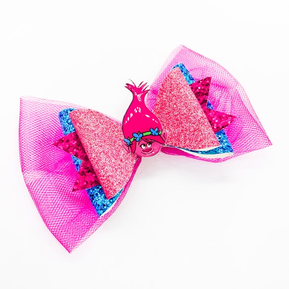 *One* Trolls Branch and Poppy Pink Glitter Hair Bow