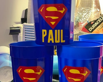 Superman Party Cups Theme Suuperman Birthday Decor Decorations