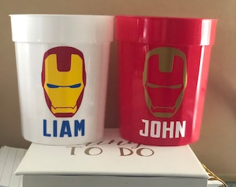 Iron Man Cups Birthday Party Theme Decorations Decor Favors