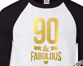 90 And Fabulous 90th Birthday Gifts For Men Gift Tshirt Party