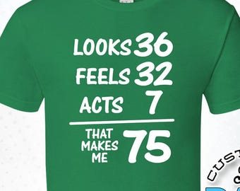 Looks Feels Acts That Makes Me 75 75th Birthday Gifts For Men Gift Tshirt Party