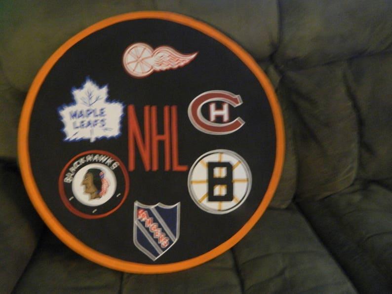 Vintage NHL Original Six shield Huge 20 round Hand  6440821bc
