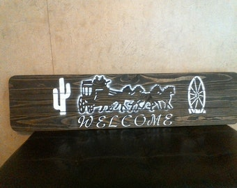 Welcome Stagecoach sign