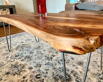 Handmade live edge indian rose wood (Sisso) coffee table with steel hairpin  legs d8b646b84
