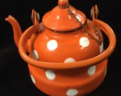 Rare Metal Enamel Teapot Orange Polka-Dot with Lid Chain Small Unmarked Mint Condition Vintage