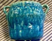 Pottery Vase Handles Outsider Art Studio Art Clay Ceramic Earthenware Turquoise Glazed Organic A-Symmetrical Handmade Vintage