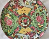 Asian Print Plate Tray Serving Platter quot Rose Medallion quot Famille Rose Chinese Large Round quot Wony Ltd quot Italy Melamine Acrylic Plastic 12 Inch