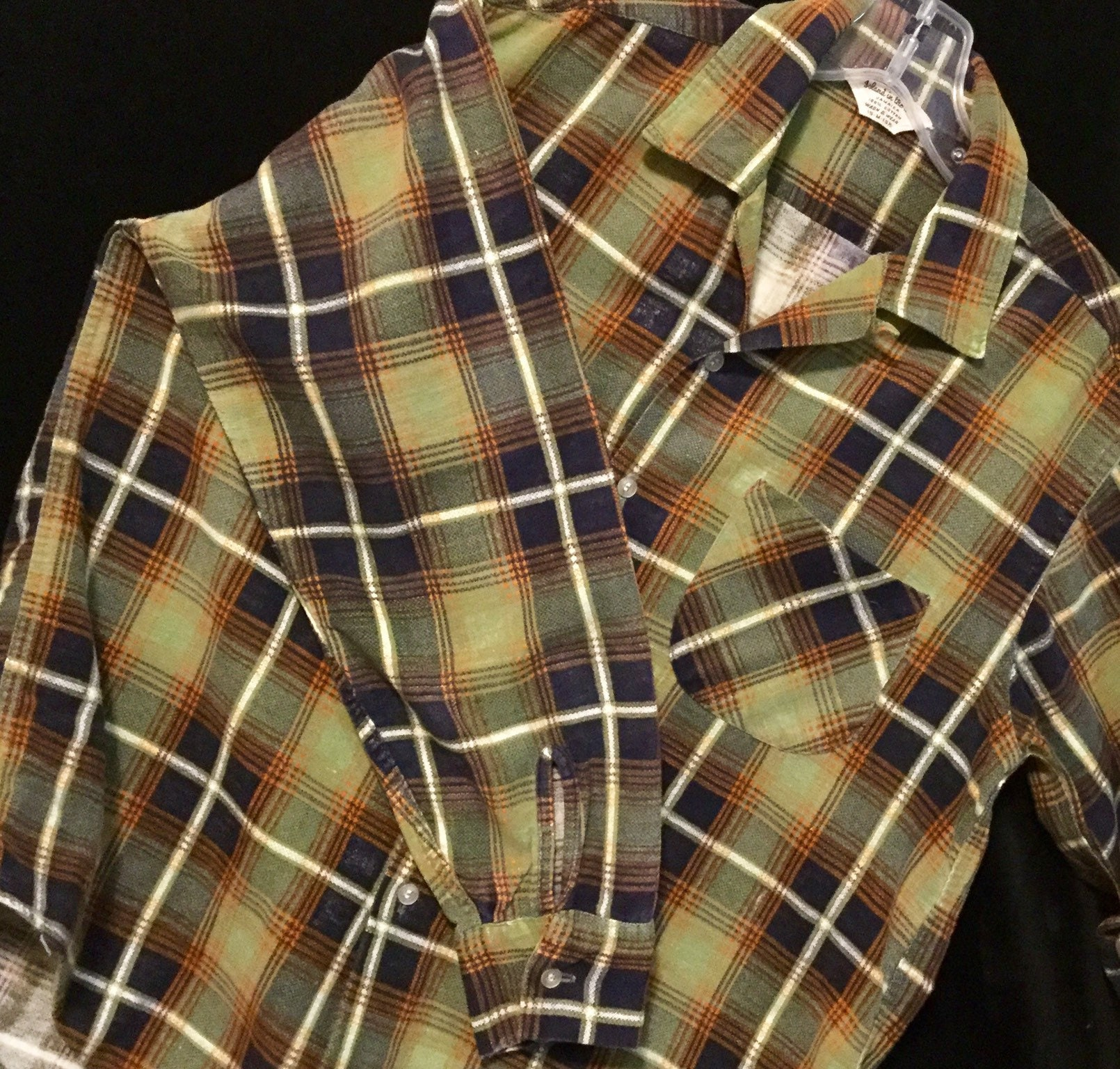 1950s Mens Hats | 50s Vintage Men's Hats 1950S MensUnisex Flannel Shirt Plaid Print Olive Green Island in The Sun Long Sleeve Cotton Winter Size 15-15 12  Chest 44 Vintage $0.00 AT vintagedancer.com