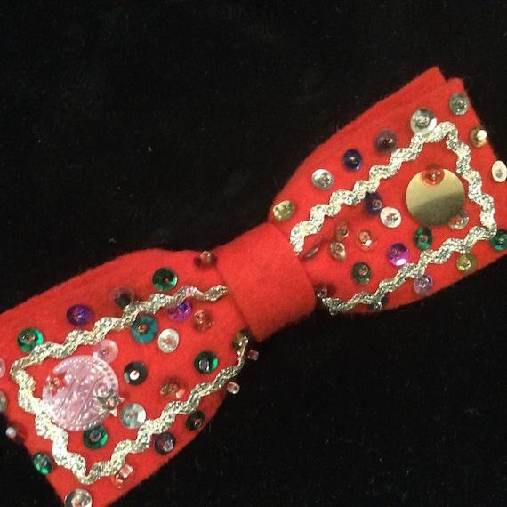 1950s Christmas Bow Tie Red Felt Sequins Handmade