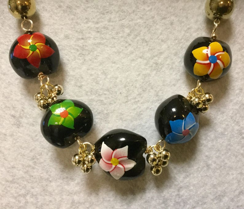 d01321a62 Hawaiian Bead Necklace & Earrings Floral Flower Black Aloha | Etsy