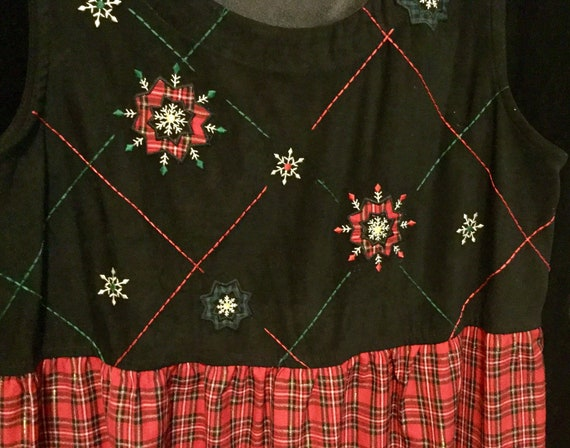 1970s Red Plaid Christmas Dress Jumper Embroidered