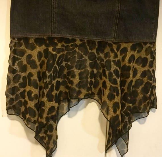 Denim Skirt Leopard Animal Print Long Maxi Straigh