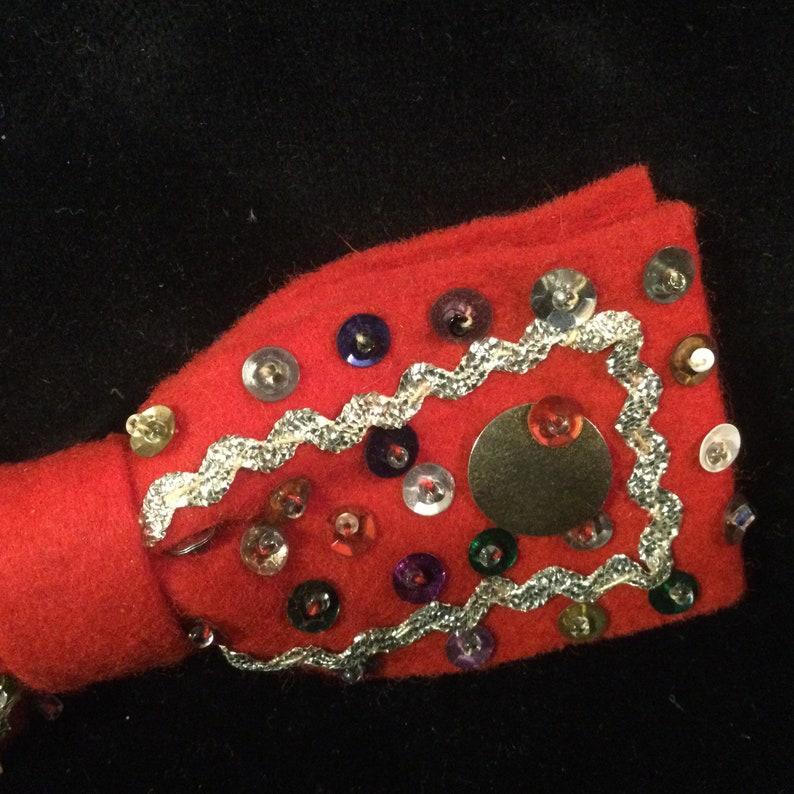 1950s Christmas Bow Tie Red Felt Sequins Handmade OOAK Vintage Mid-Century