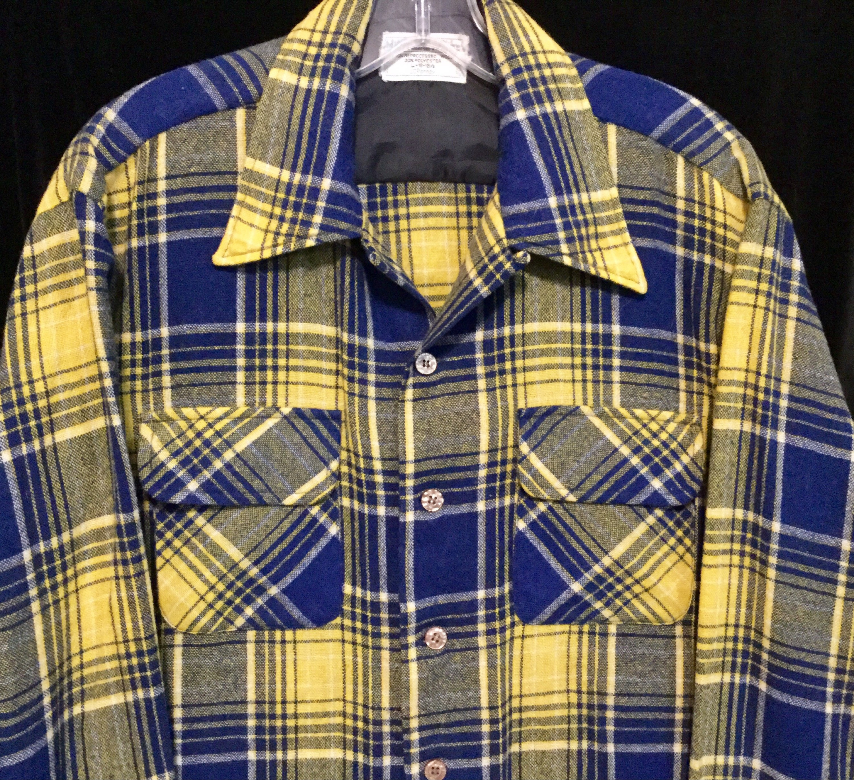 1970s Mens Shirt Styles – Vintage 70s Shirts for Guys 1970S Blue Plaid Shirt Jc Penny Wool Blend Scottish Tartan Print Long Sleeve Button-Up Yellow Winter Mens Size Large 16-16.5 Vintage $0.00 AT vintagedancer.com