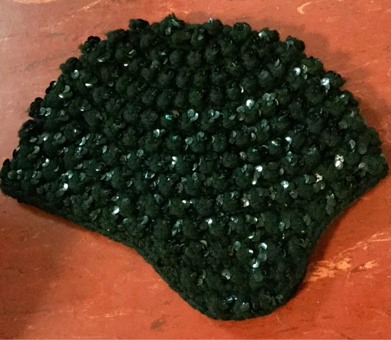 Vintage Black Beaded Hat Crochet Sequin Skull Cap