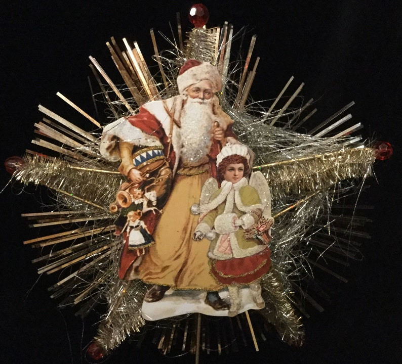 Tinsel Christmas Tree Topper Star VIctorian Santa Claus Angel Figural Silver /& Gold Vintage Reproduction 1990/'S