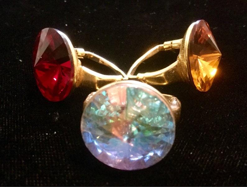 aee99f6e0e2f6 Swarovski Rhinestone Ring 3 Piece Adjustable Large Rivoli Gold Plated Red  Gold Glass AB Crystal Vintage 1980 SET